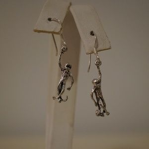 Jewelry - .925 Sterling Silver Hanging Monkey Earrings